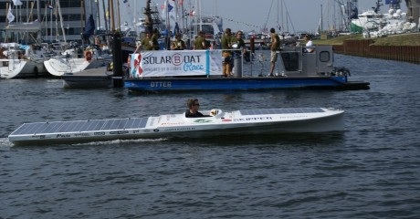 Derde plaats solarboot Leeuwarden tijdens SAIL Amsterdam zonnebootrace