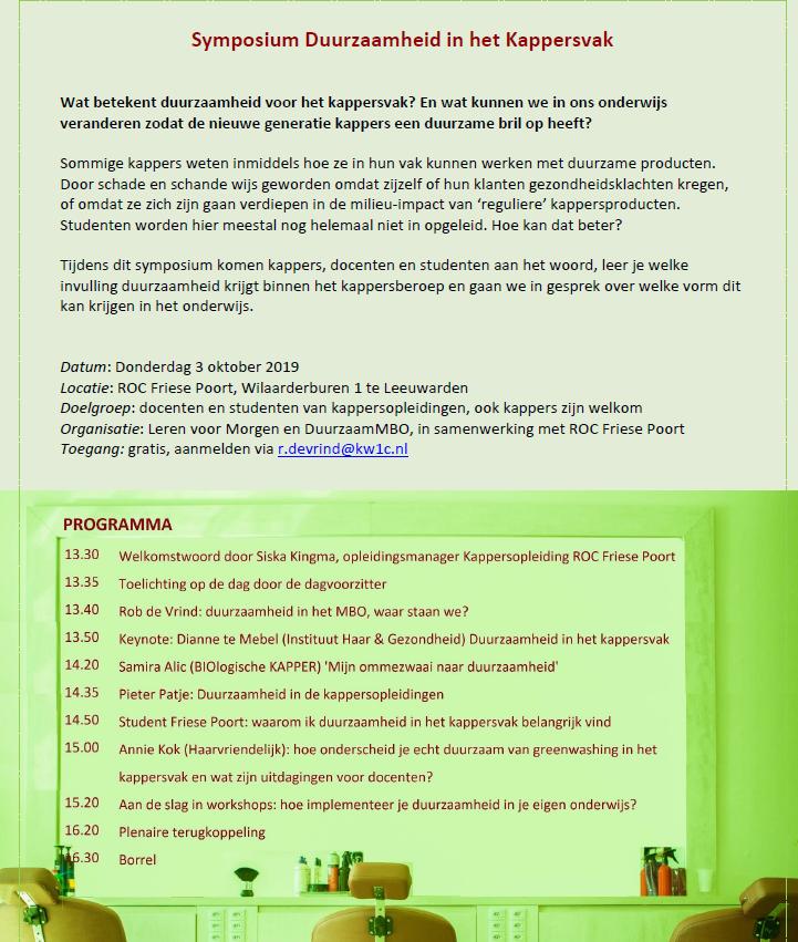 Symposium duurzaamheid in het kappersvak